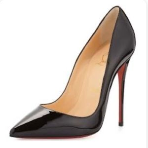 Louboutin - Kate Patent Pointed-Toe Red Sole Pump